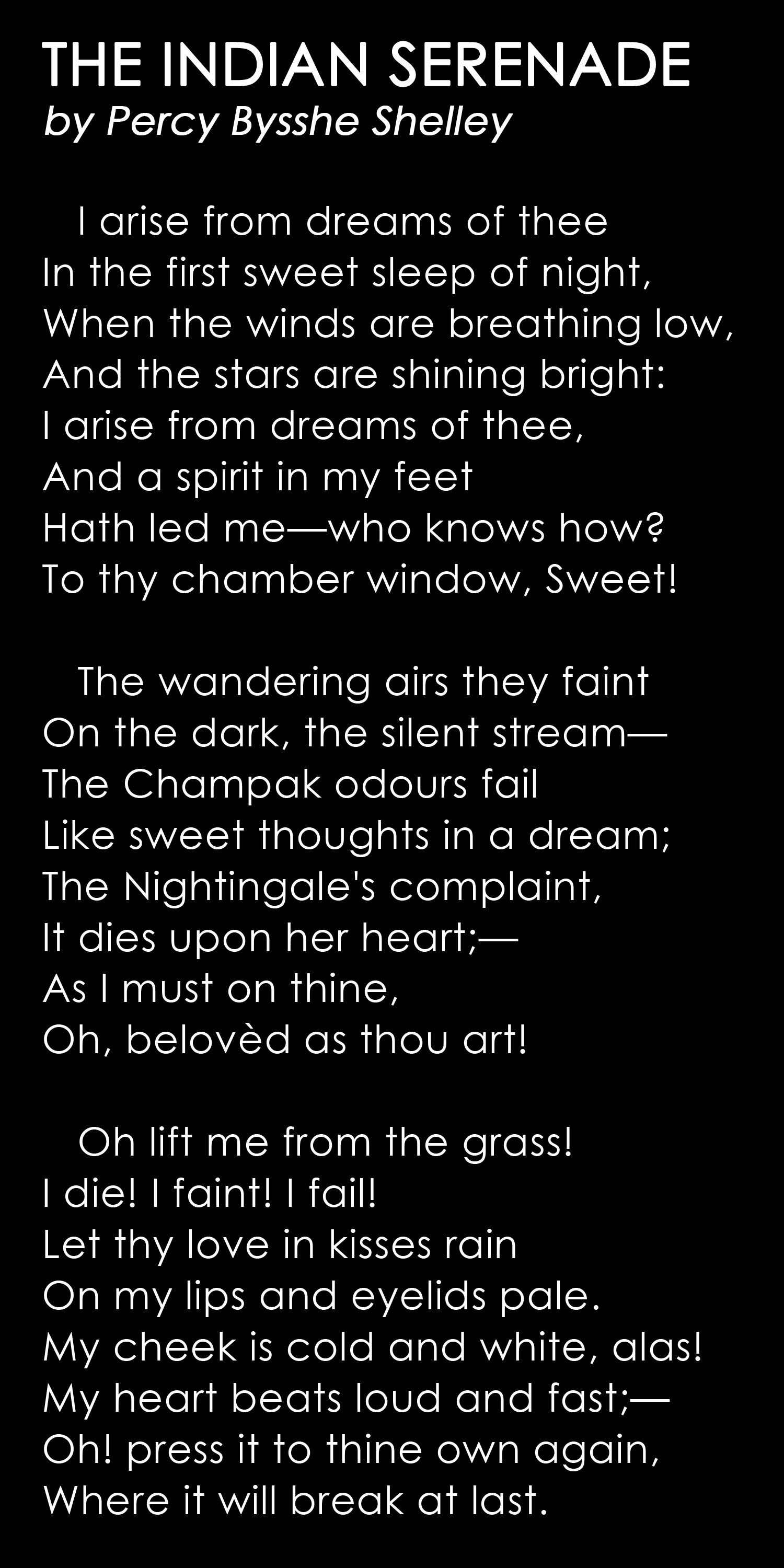 The Indian Serenade By Percy Bysshe Shelley Poetry Word Romantic Poetic Quote Ode To West Wind