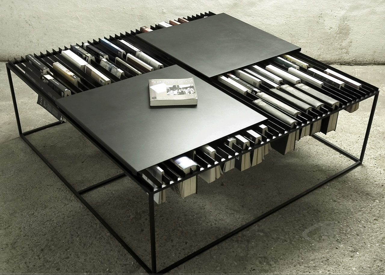 Coffee Table With Interesting Idea Of Book Storage Creative