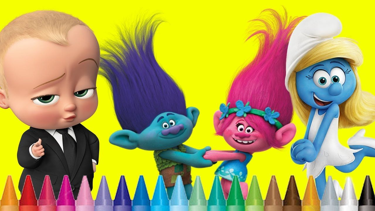 Coloring Smurfs The Lost Village Trolls Movie The Boss Baby Color Trolls Movie Coloring Pages For Kids Baby Coloring Pages
