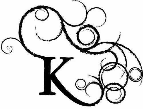 i like how its a simple k but then the ends flow out nicely into little swirls