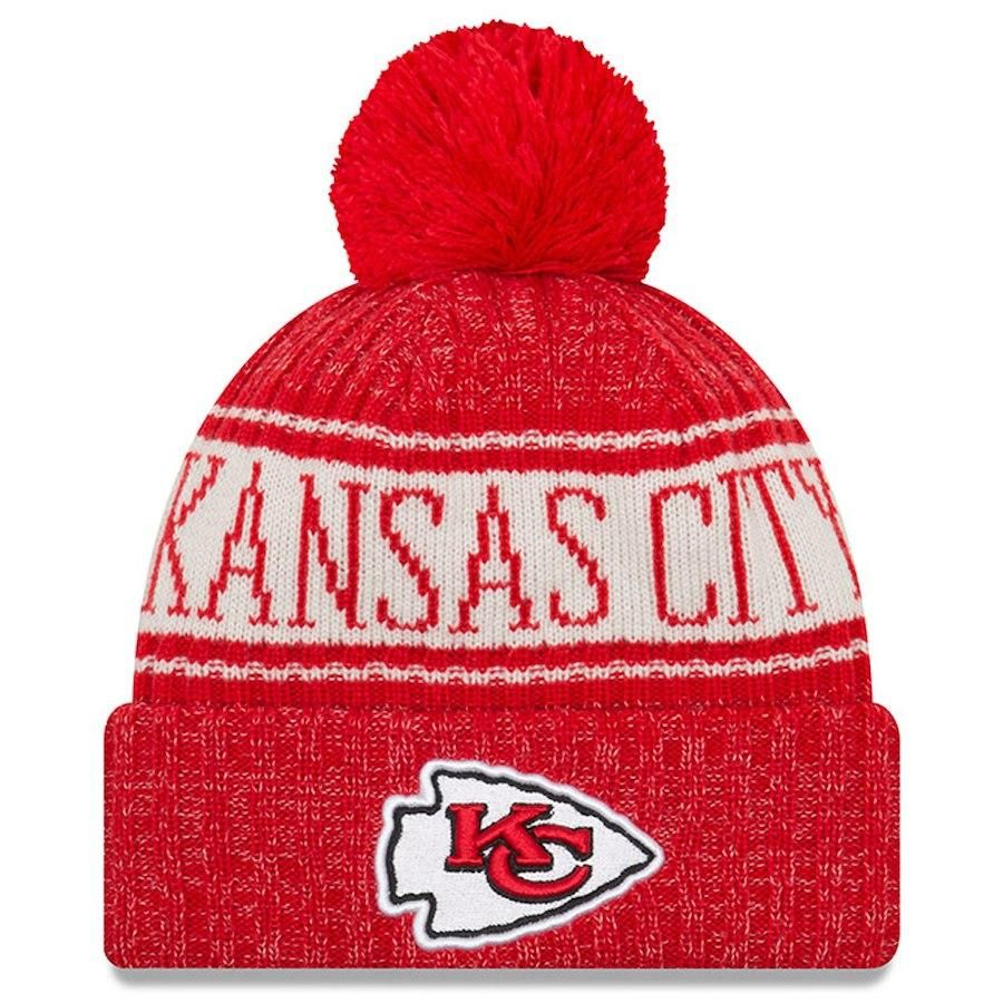 7cc88f1b68c Kansas City Chiefs New Era Red 2018 NFL Sideline Official Sport Knit Hat  Knitted Hats