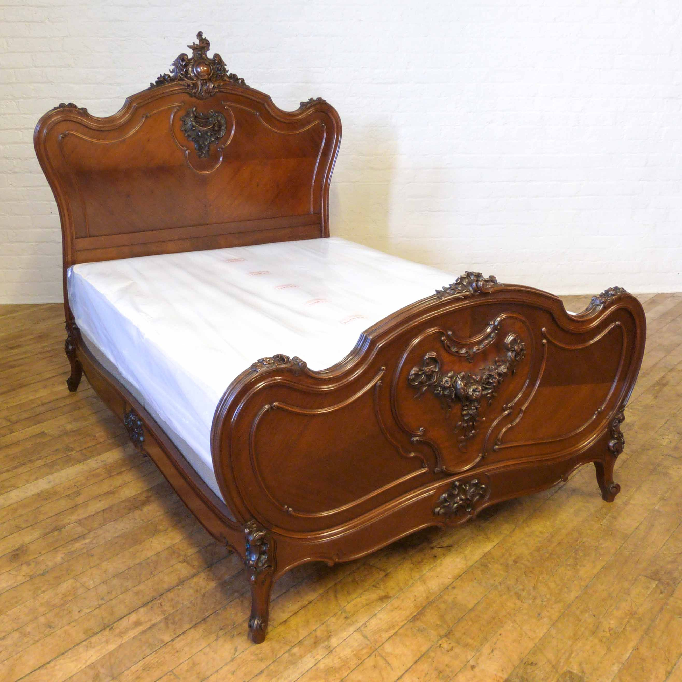 French Carved Walnut Bed - Circa 1890
