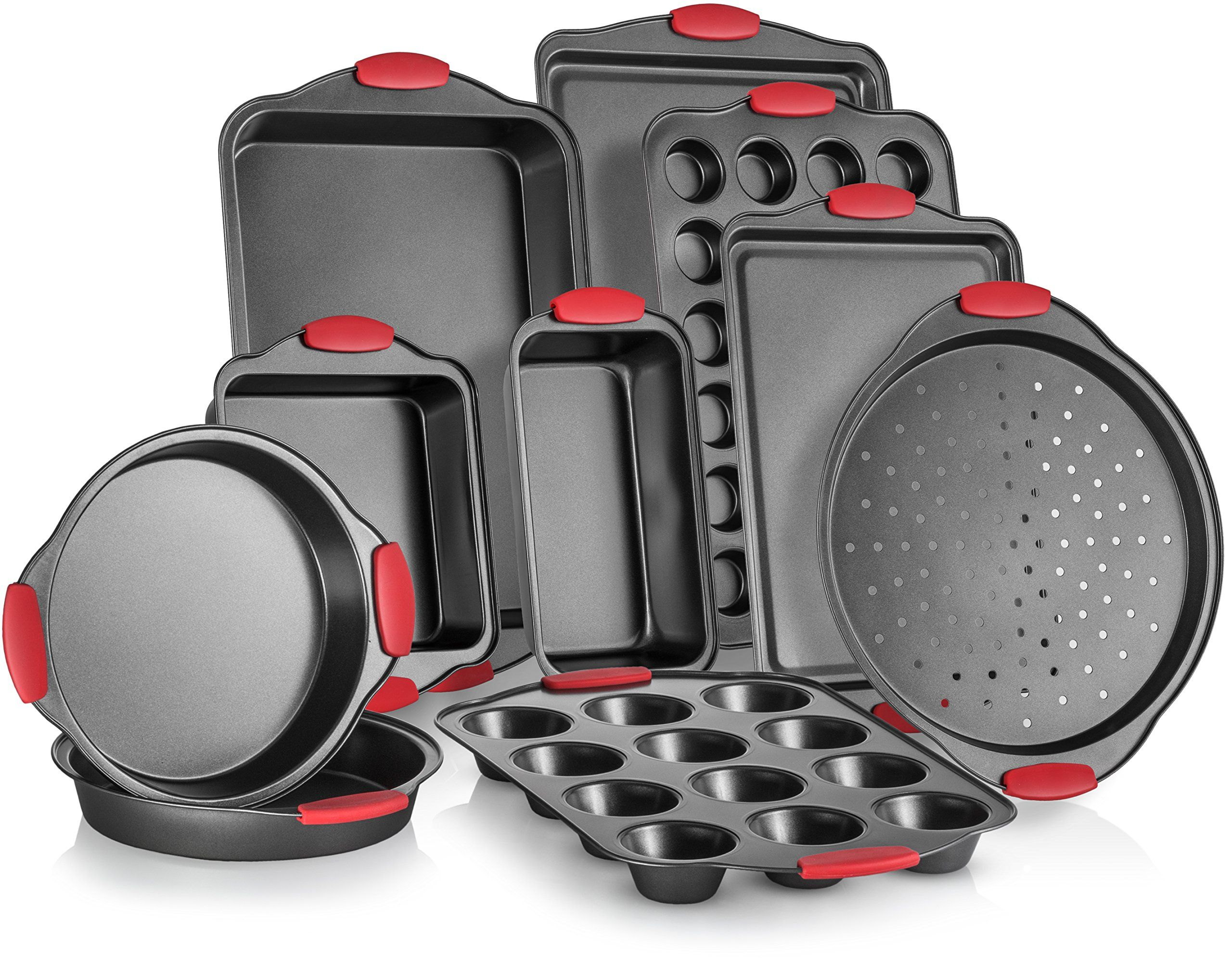 Perlli 10piece Nonstick Carbon Steel Bakeware Set With Red