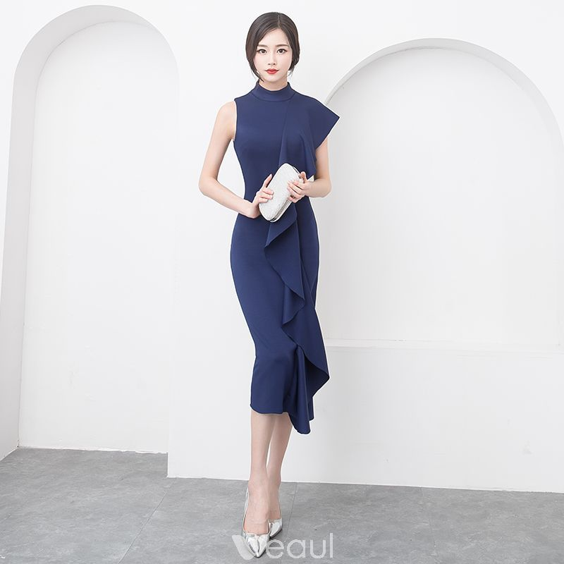 b855ca13 Stylowe / Modne Proste / Simple Granatowe Sukienki Wieczorowe 2019 ...