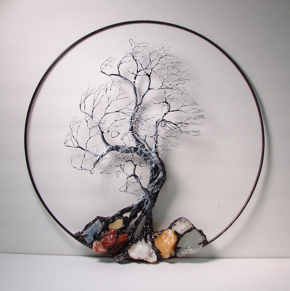 Wire Tree Of Life Black and White Wind Spirit sculpture with natural ...