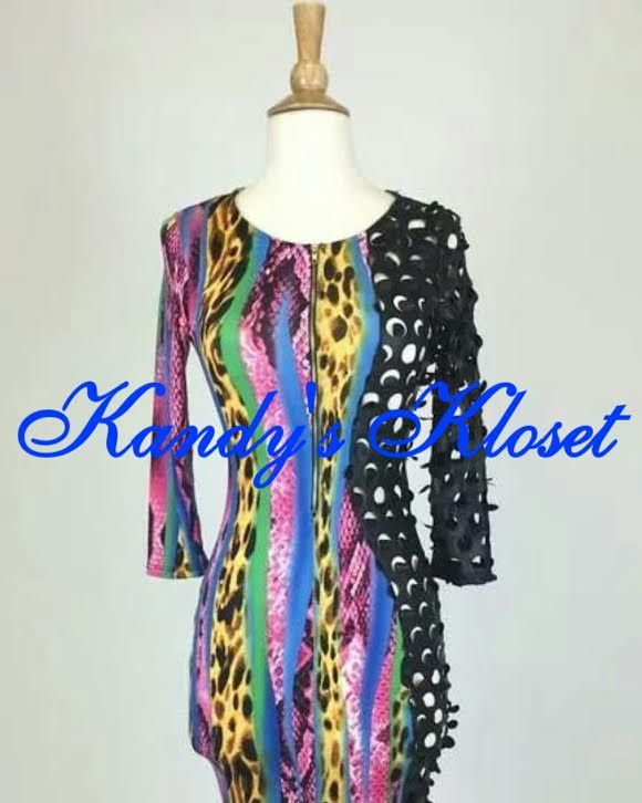 Gorgeous multi colored dress with black pleather contrast on one side with zipper