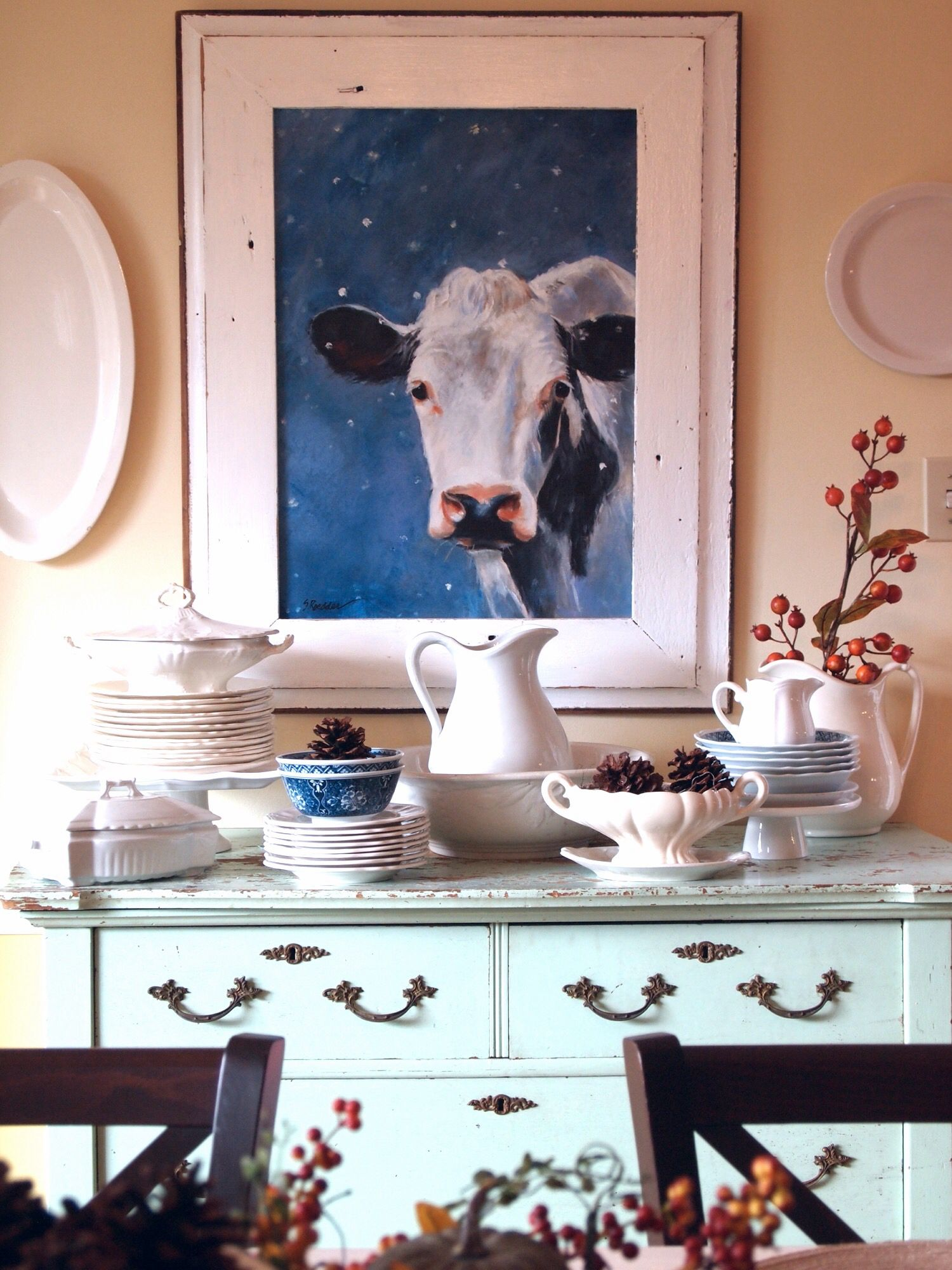 Using an antique dresser for china display and storage in the
