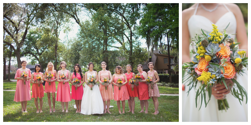 Flowers By Lesley Bride With Bridesmaids Pink Dresses Bouquet With