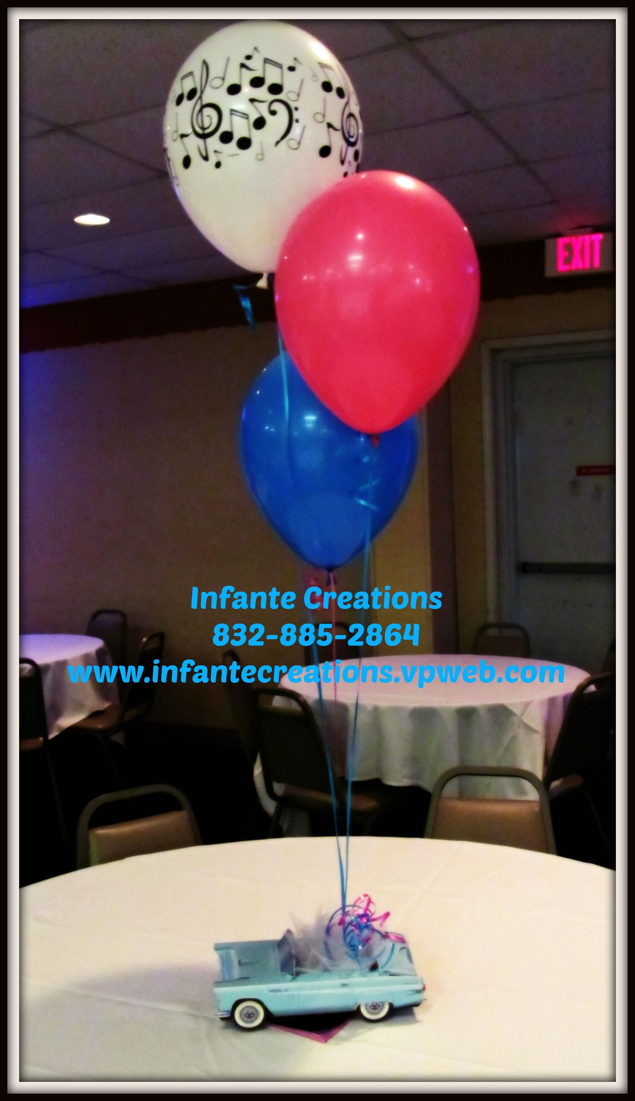 50s wedding decoration ideas  us Themed Centerpiece with balloons  Grease  Pinterest