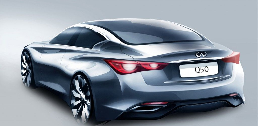 Infiniti Q50 Coupe Rear Three Quarter Sketch