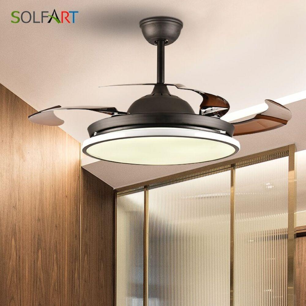 ceiling fan light hidden blades nordic modern dinning room bedroom living restaurant solid w lamp with black friday fans 2019