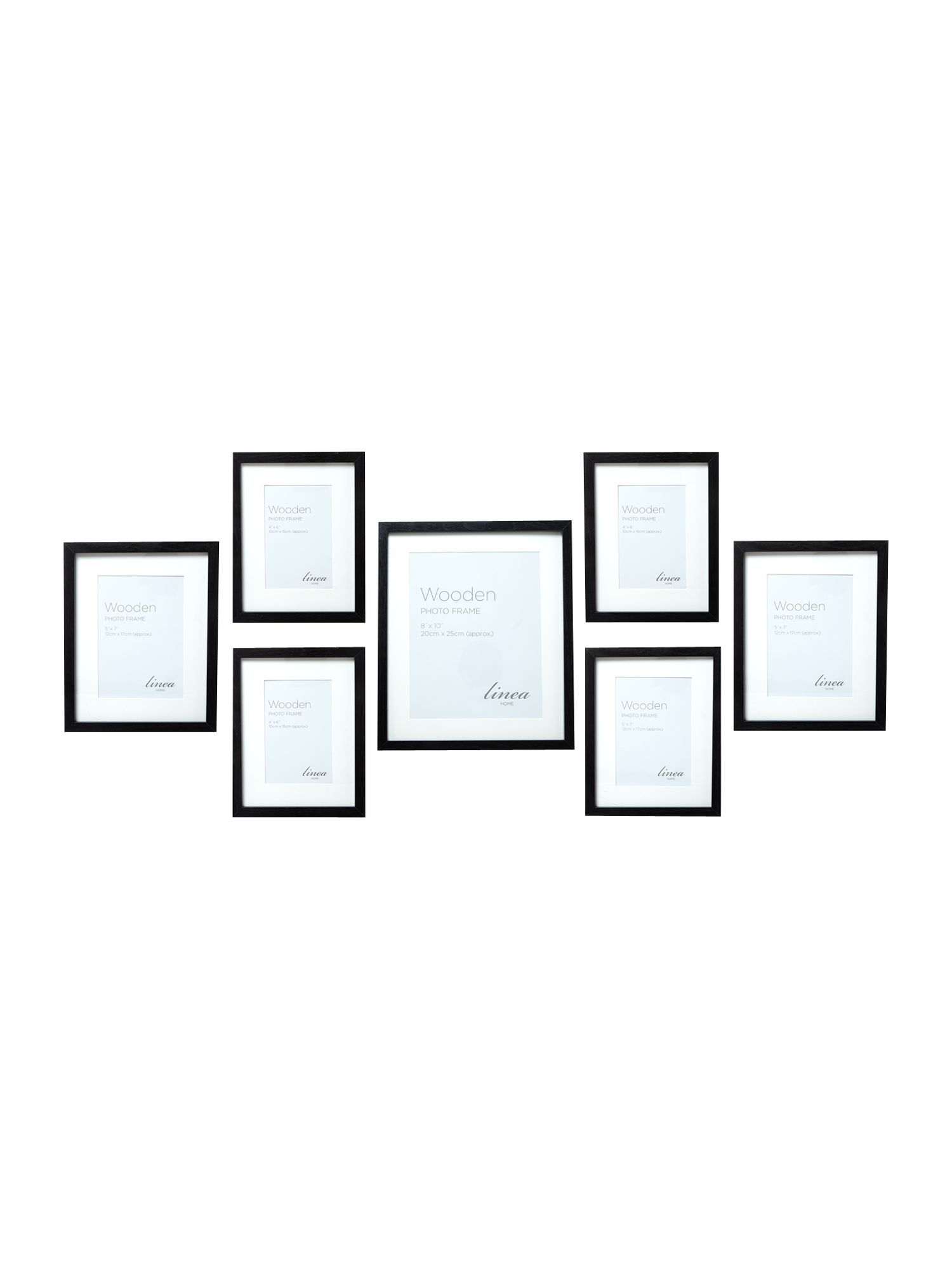 Linea Black Wood 7 Piece Gallery Frame Set From House