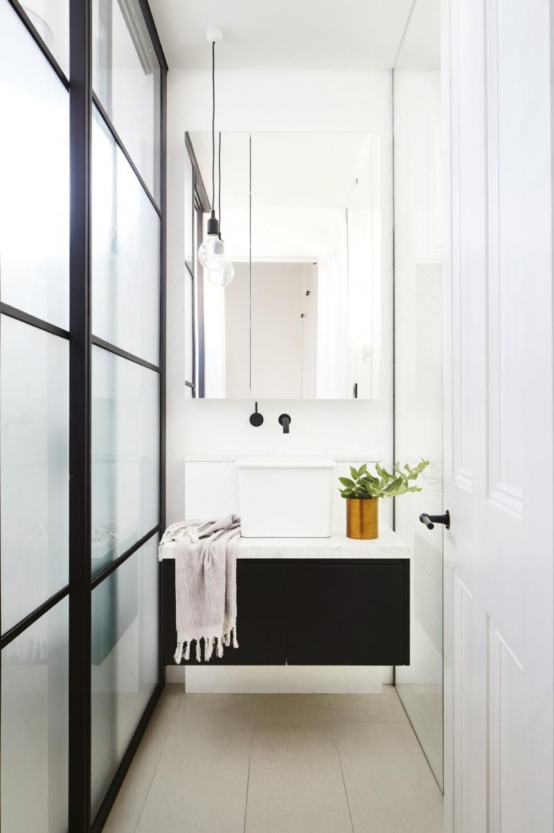 Bathroom Joinery loving the sliding shower glass with black joinery | b for