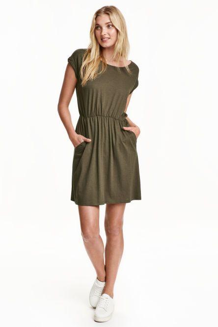f2b9245cf62cba Tricot jurk met korte mouwen