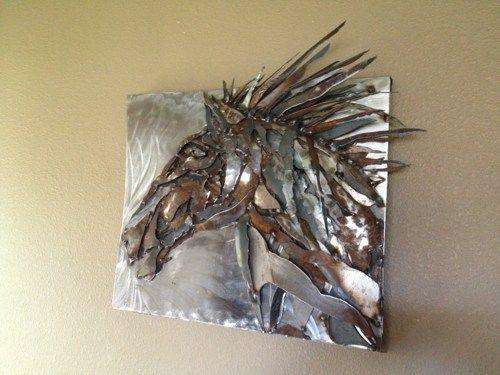sculpture+art | Metal art sculpture Horse head wall hanging for home or  barn .
