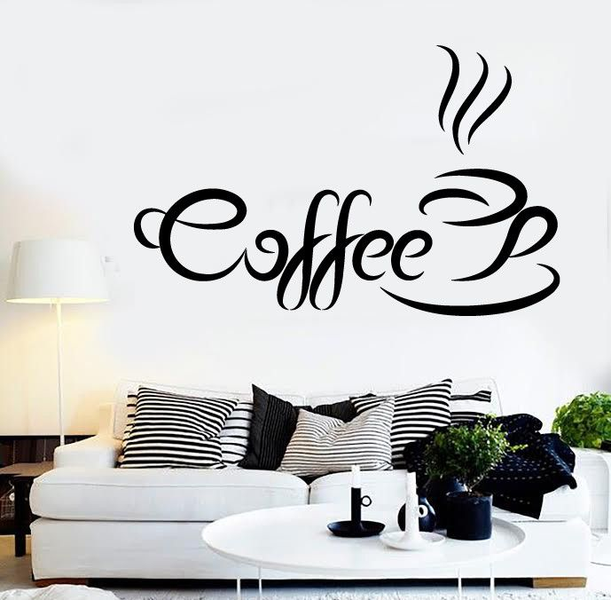 vinyl decal coffee quote coffee time wall sticker kitchen cafe shop