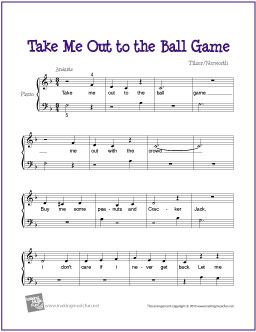 Take Me Out To The Ball Game Free Sheet Music For Easy Piano