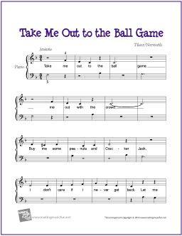 Take Me Out To The Ball Game Free Sheet Music For Piano Easy Piano Sheet Music Sheet Music Piano Sheet Music
