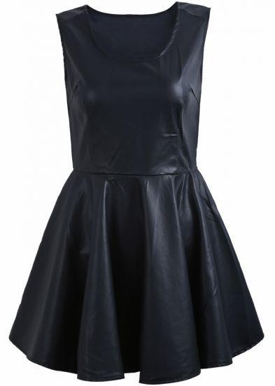 Leather Scoop Neck Dress