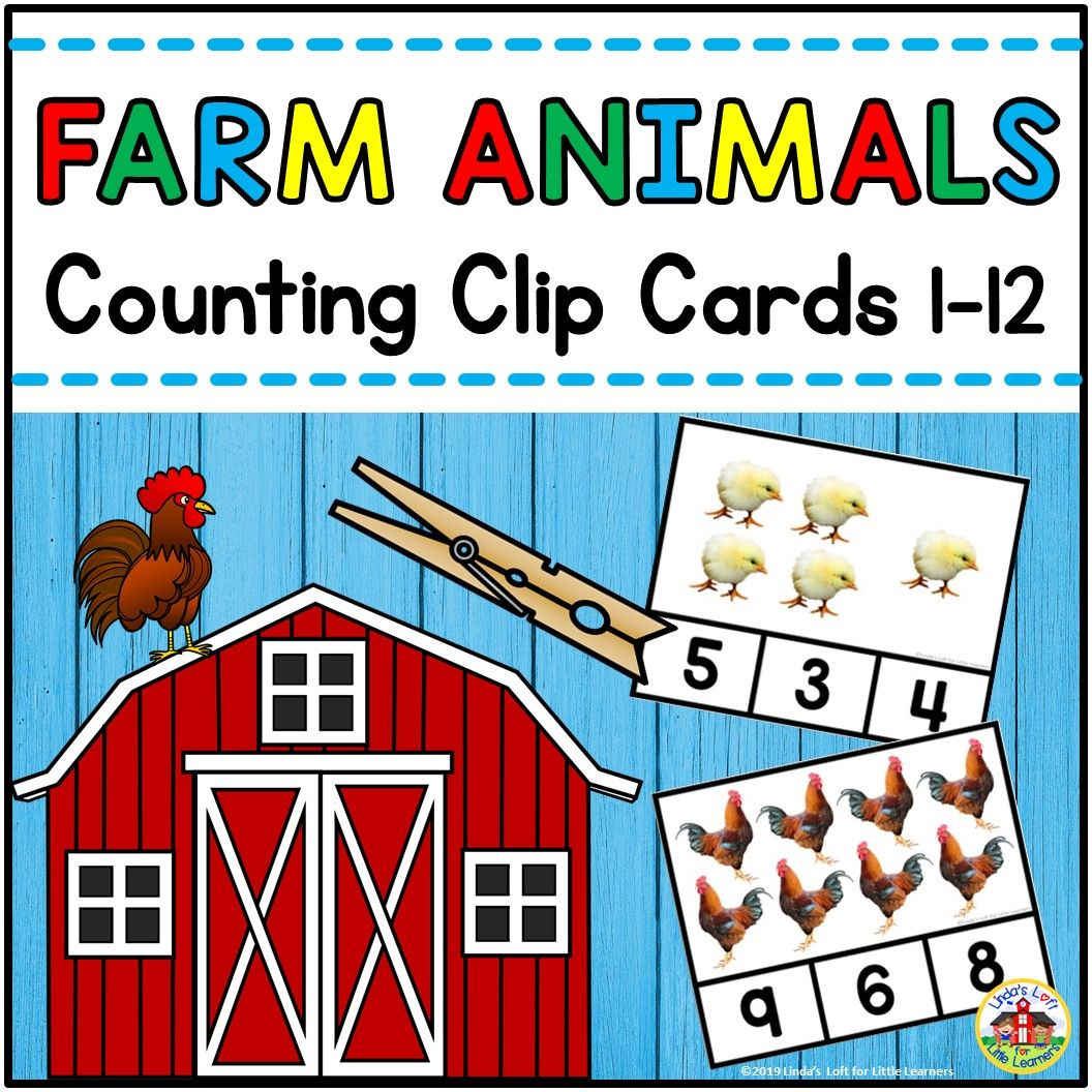 Use These Preschool Farm Animals Count And Clip Cards To
