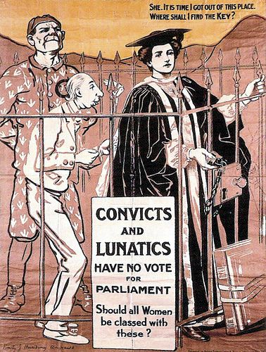 British Pro Women S Suffrage Poster Convicts And Lunatics Have No Vote For Parliament Should All Women Be Classed Wit Suffragette Suffrage Suffrage Movement