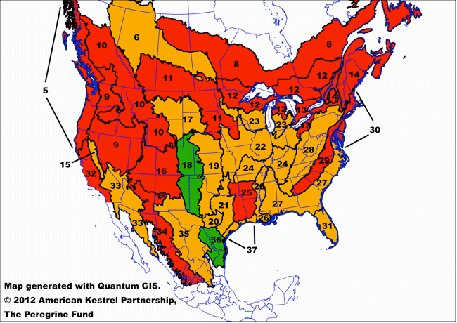 American Kestrel Population Status In The US From Breeding Bird - Cockroach map us