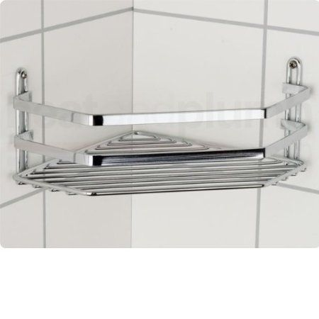Satina single corner shower wire shelf cubicle tidy for Shower cubicle shelves
