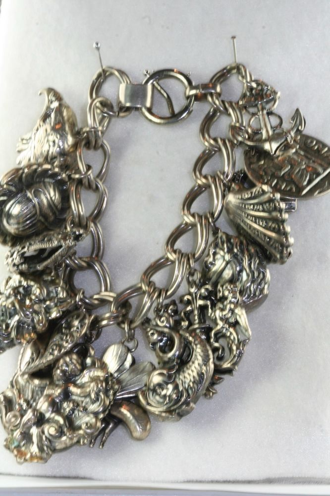 Statement Charm Bracelet Silver and Gold High Heels Vintage Style
