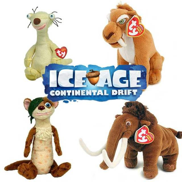ICE AGE 4: CONTINENTAL DRIFT Beanie Babies! Sid, Diego, Manny, and Buck (clockwise from L to R)
