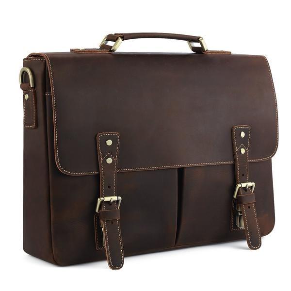 Photo of 15.7″ Laptop Messenger Bag Vintage Leather Briefcase