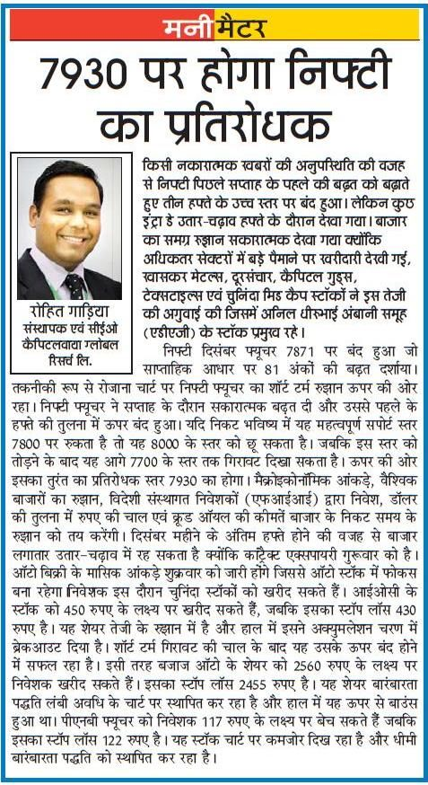 Date of Coverage Appeared: 28-12-2015 Publication: Dainik Jagaran Headline: Equity Authoured Article Edition: All Editions Language: Hindi Page No.: 8
