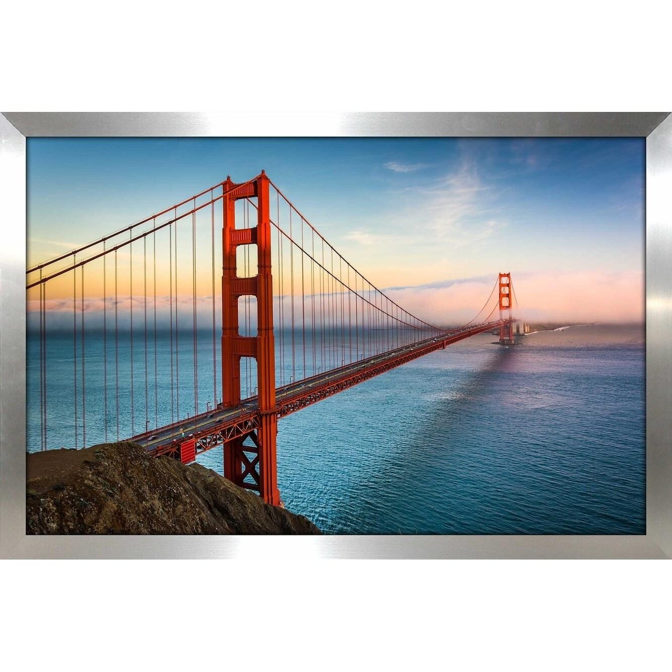 Photo Art San Francisco Framed Canvas Poster Golden Gate Bridge Print