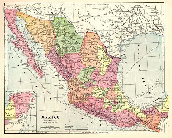 1893 Antique MEXICO Map Vintage BAJA California Map Antique Maps