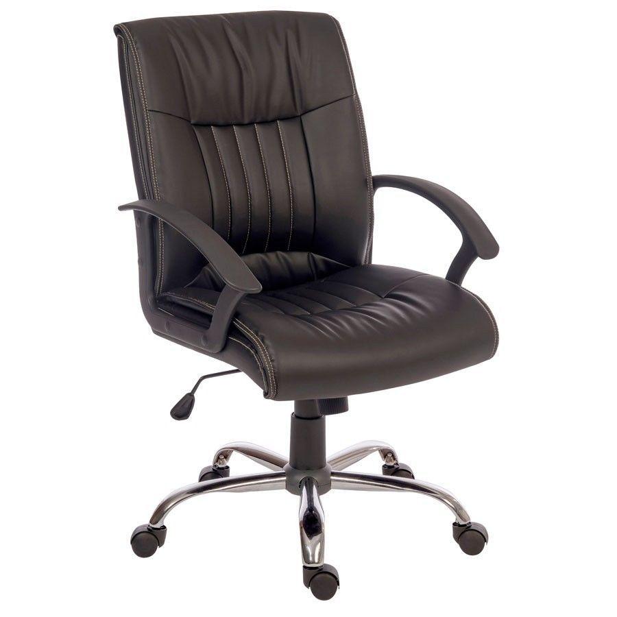 Black executive chair swivel reclining mobile chrome base