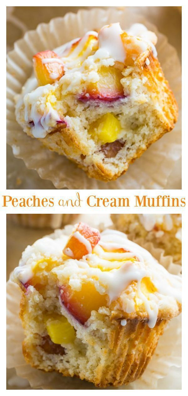 Peaches and Cream Muffins - Baker by Nature