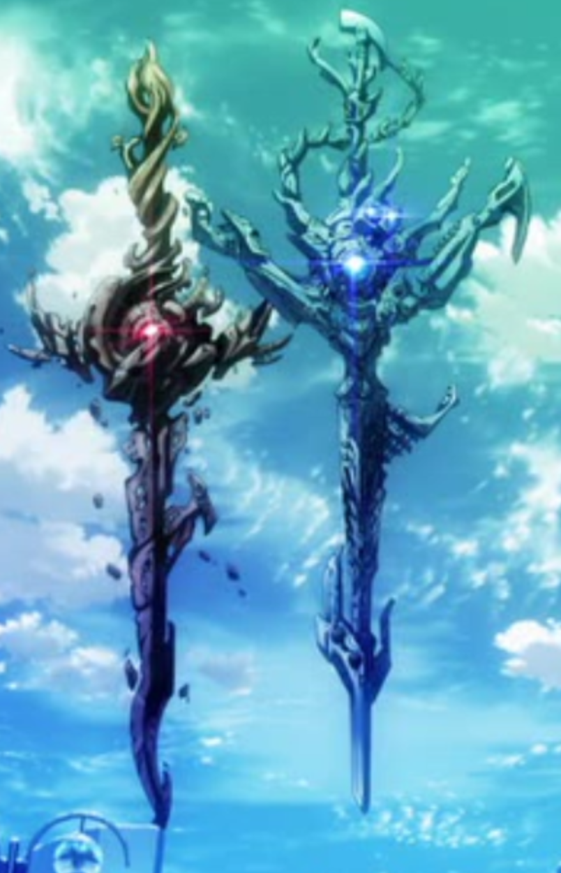 Red and Blue King Damocles sword K project anime, K
