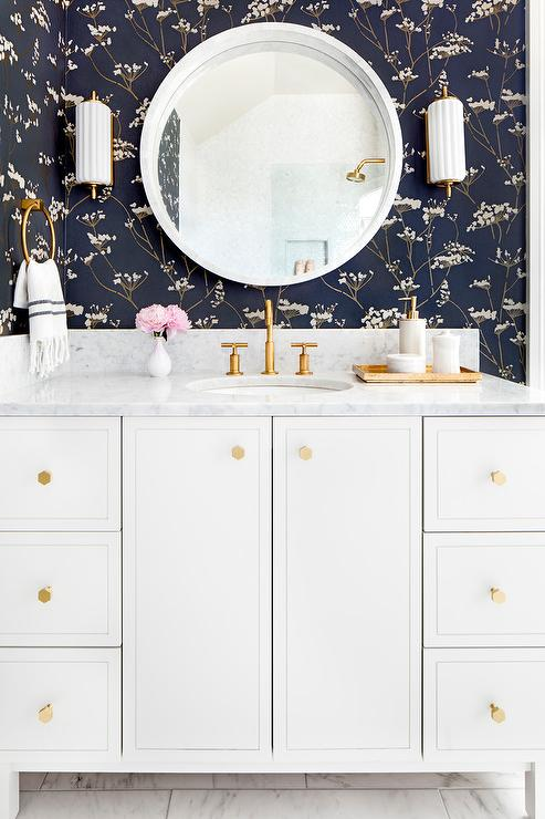 Gold and Navy Blue Botanical Powder Room Wallpaper