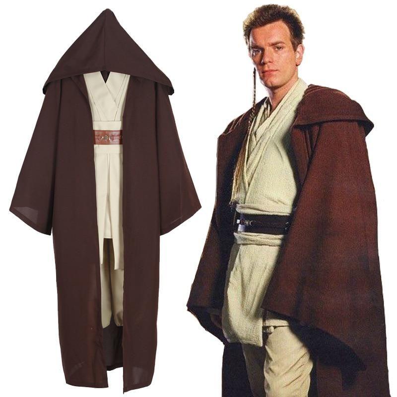 Star Wars Obi-Wan Kenobi Jedi Knight Adult Costume Cloak Suits Cosplay Halloween