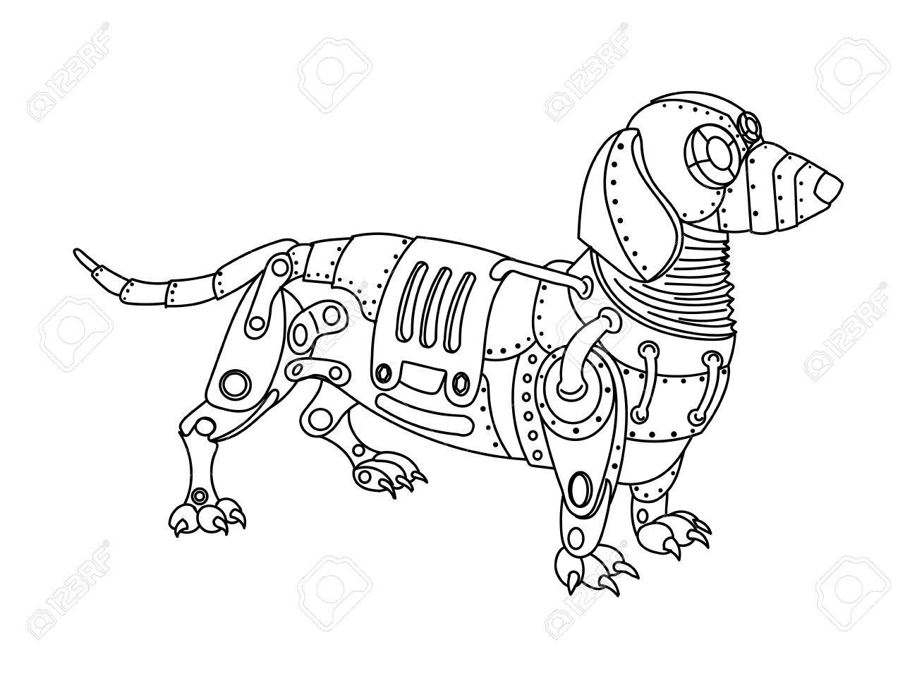 Steampunk chien teckel style animaux m caniques livre de - Dessin teckel ...