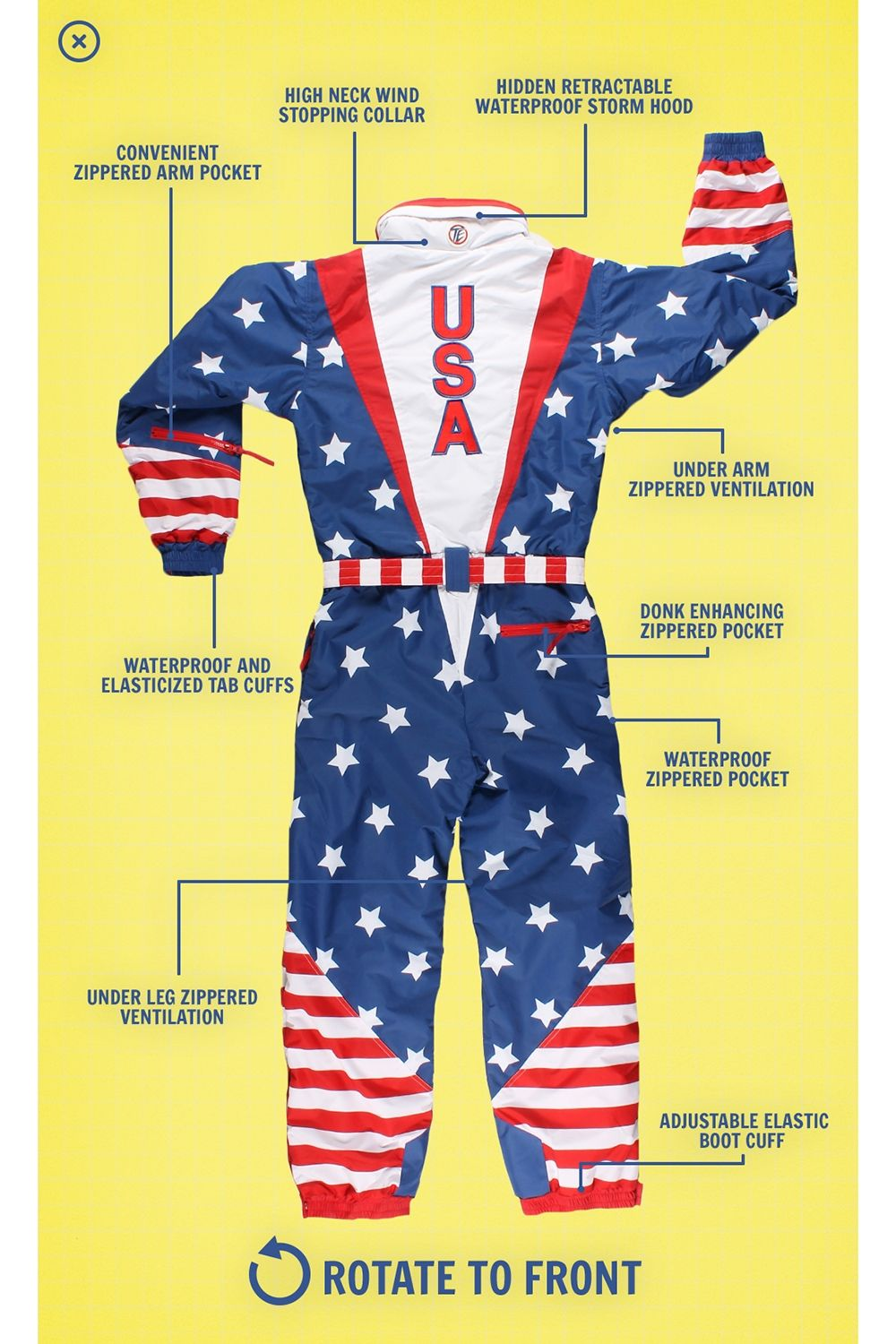 d46bcf7143 American Flag Ski Suit  Large
