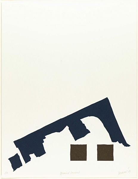 Hans Landsaat (1935), Opwaaiend bouwwerk (1985) zeefdruk 50 x 65,  13/50