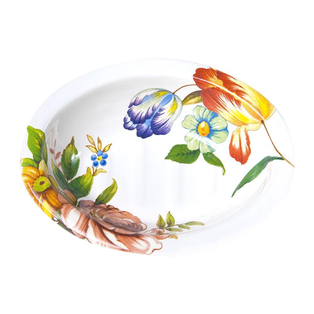 Discover the MacKenzie-Childs Flower Market Enamel Soap Dish - White ...
