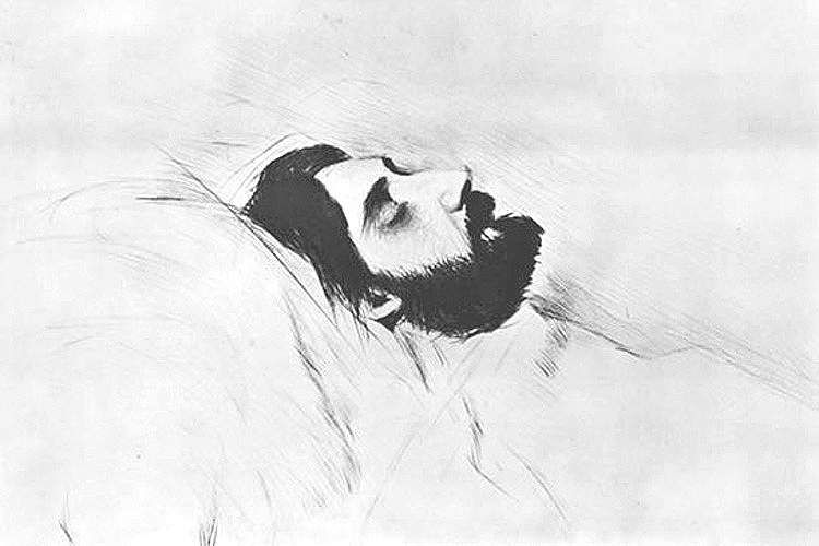 Marcel Proust in deathbed, by Paul César Helleu