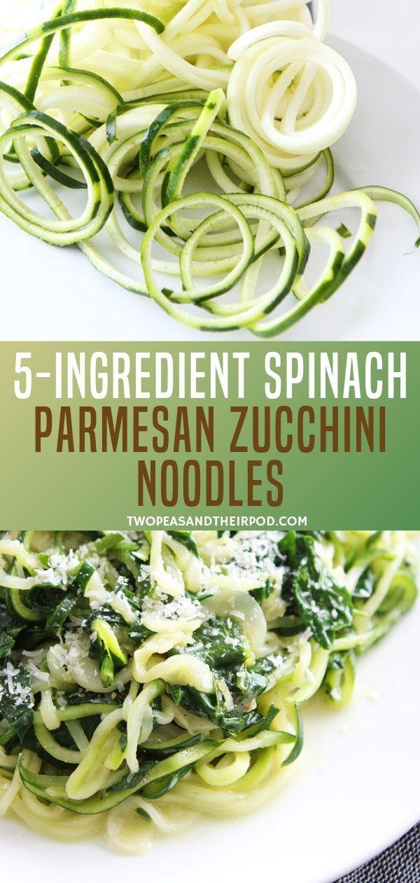 5-Ingredient Spinach Parmesan Zucchini Noodles images