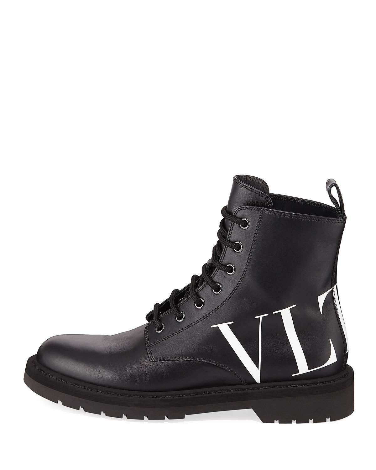 097a4d2bc91 Valentino VLTN Leather Combat Boots in 2019   Products   Valentino ...