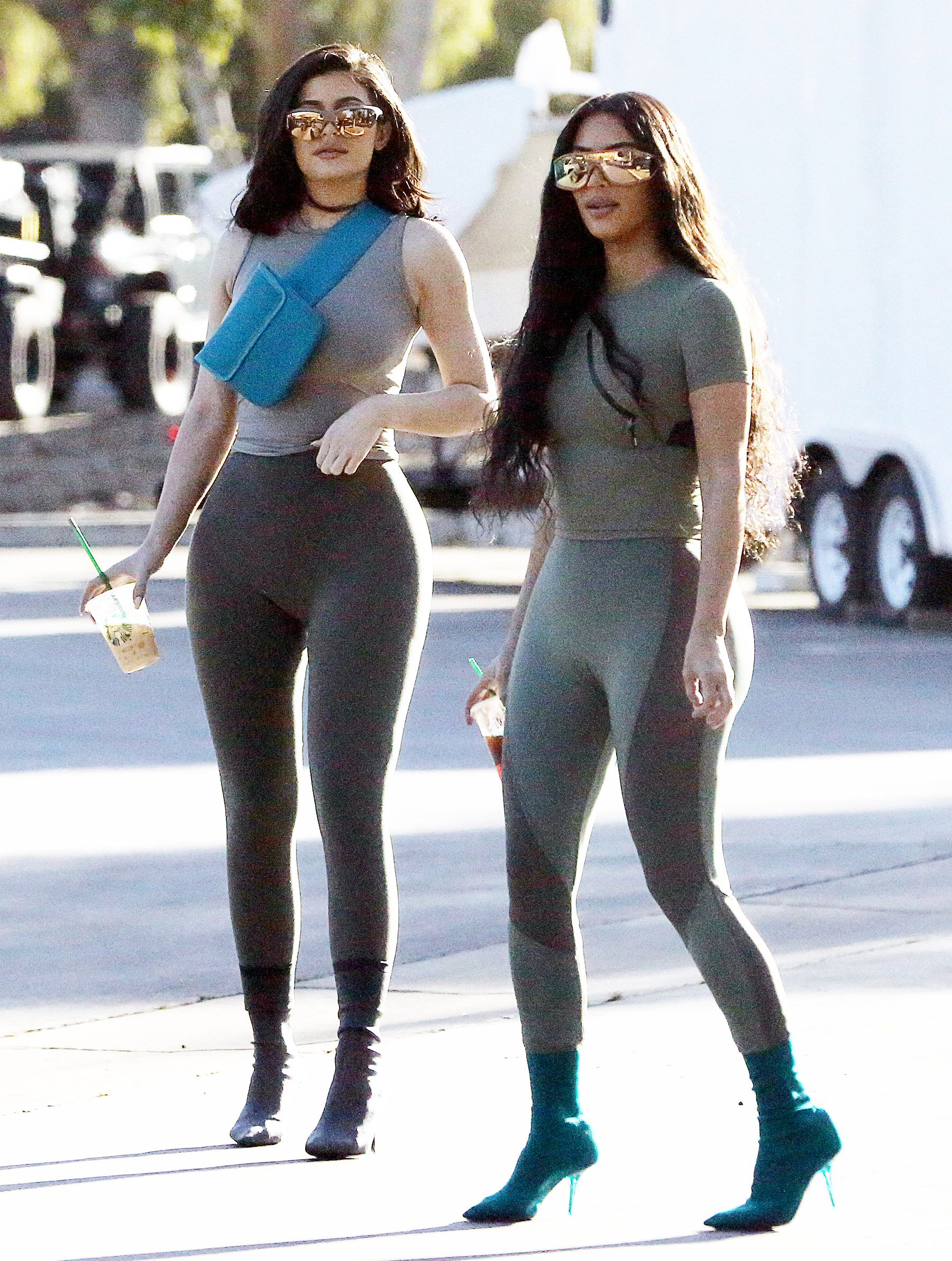 928da5f342 Kylie Jenner and Kim Kardashian Look Like Twins in Matching Spandex and  Crop Tops