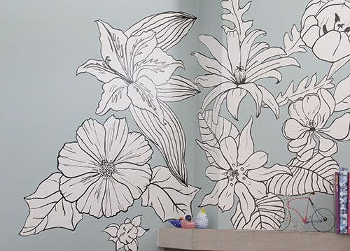 Flower mural 500 359 murales interiores for Mural flower