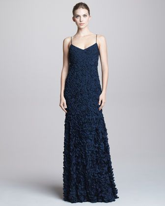 Spaghetti-Strap Petal Gown by Theia at Neiman Marcus ...