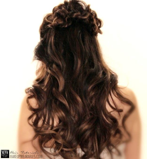 Romantic Flower Braid Half Up Half Down #Updo #Hairstyles Prom ...
