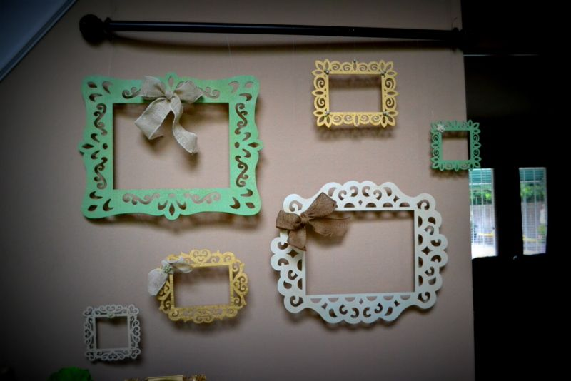 Balsa wood frames from michaels spray painted and hung
